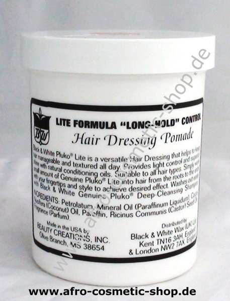 Black White Lite Hair Dressing Pomade Afro Cosmetic Shop